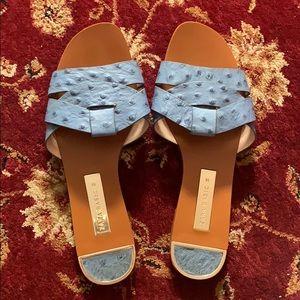 Zara Ostrich Print Sliders Flat Sandals